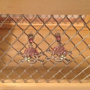 Silver Tone Pink Crystals Skull Earrings